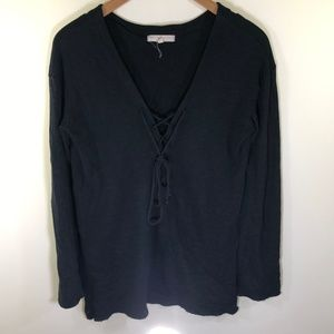UO Truly Madly Deeply Black Long Sleeve Top